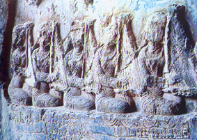 Women playing Chang - 6th century Sassanid Iran - Taq-e Bostan carving,