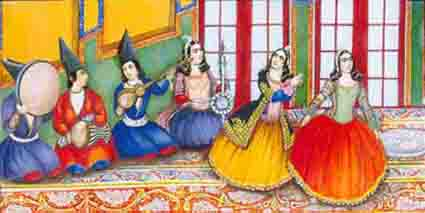 A group of musiciand from the Ghajar period